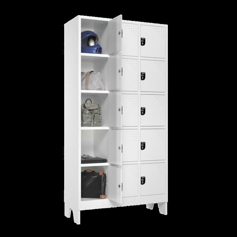 armario para vestiario multiuso 15 portas 3 colunas 15 portas mc00000 lateral aberto 2000x2000