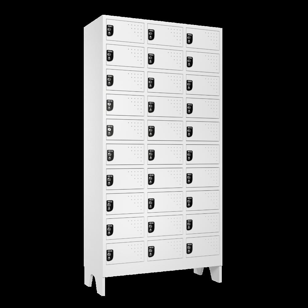 Armario Para Vestiario Multiuso 30 Portas 3 Coluna 10 portas por coluna Lateral Fechado 1000x1000