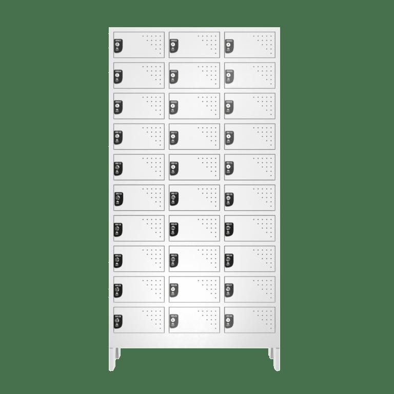 Armario Para Vestiario Multiuso 30 Portas 3 Coluna 10 portas por coluna Frontal Fechado 2000x2000