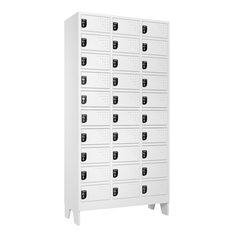 Armario Para Vestiario Multiuso 30 Portas 3 Coluna 10 portas por coluna Lateral Fechado 2000x2000