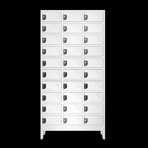 Armario Para Vestiario Multiuso 30 Portas 3 Coluna 10 portas por coluna Frontal Fechado 500x500