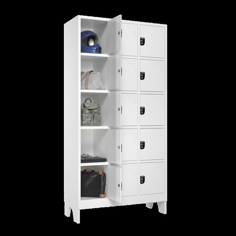 armario para vestiario multiuso 15 portas 3 colunas 5 portas por coluna macam brasil lateral aberto 2000x2000 1
