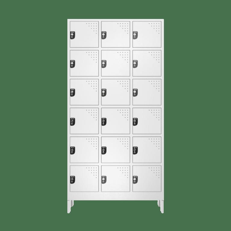 armario para vestiario multiuso 18 portas 3 colunas 6 portas por coluna frontal fechado 1000x1000 1