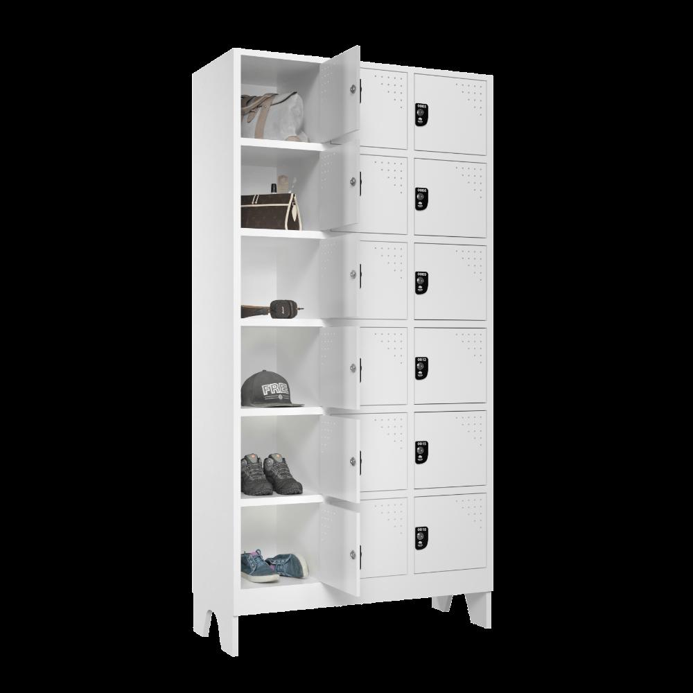 armario para vestiario multiuso 18 portas 3 colunas 6 portas por coluna lateral aberto 1000x1000 1