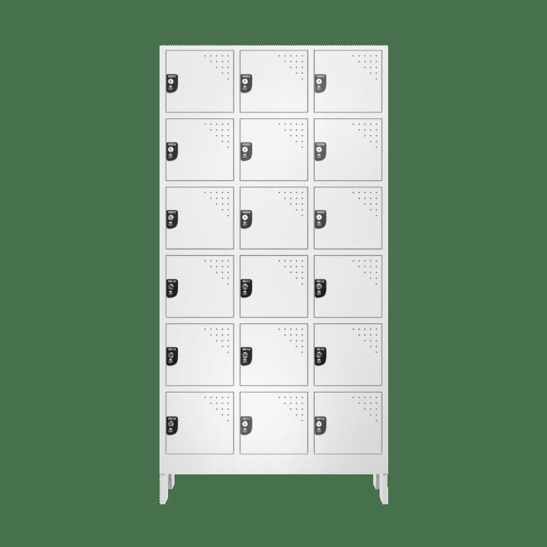 armario para vestiario multiuso 18 portas 3 colunas 6 portas por coluna frontal fechado 2000x2000 1