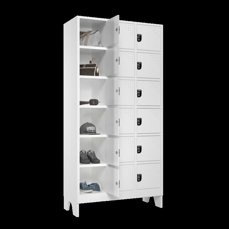 armario para vestiario multiuso 18 portas 3 colunas 6 portas por coluna lateral aberto 2000x2000 1