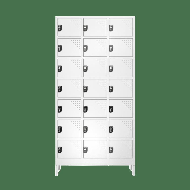 armario para vestiario multiuso 21 portas 3 coluna 7 portas por coluna frontal fechado 1000x1000 1
