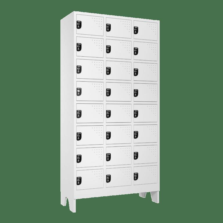 armario para vestiario multiuso 24 portas 3 coluna 8 portas por coluna lateral fechado 1000x1000 1