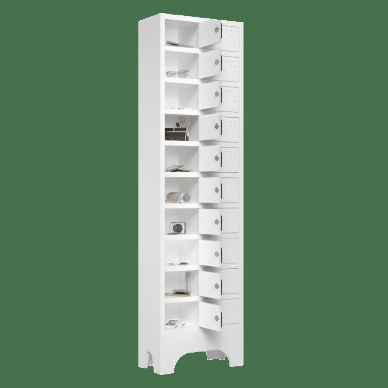 armario para vestiario porta objetos 10 portas por coluna 2 colunas 20 portas lateral aberto 1000x1000 1