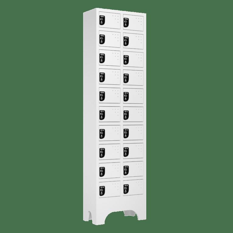 armario para vestiario porta objetos 10 portas por coluna 2 colunas 20 portas lateral fechado 1000x1000 1