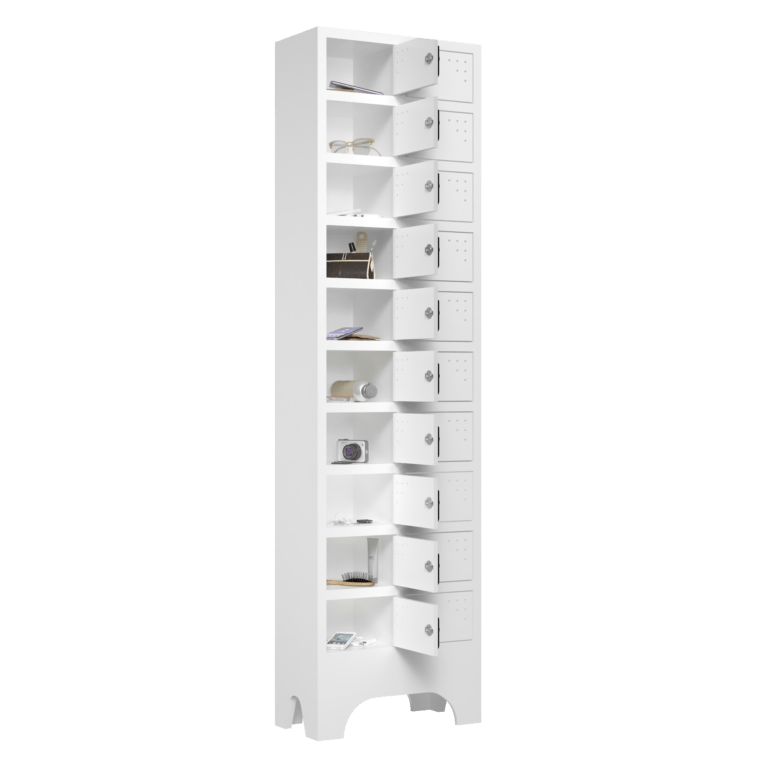 armario para vestiario porta objetos 10 portas por coluna 2 colunas 20 portas lateral aberto 2000x2000 1