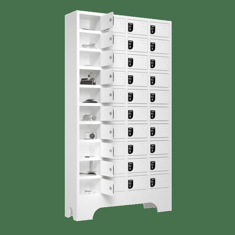 armario para vestiario porta objetos 10 portas por coluna 4 colunas 40 portas lateral aberto 2000x2000 1