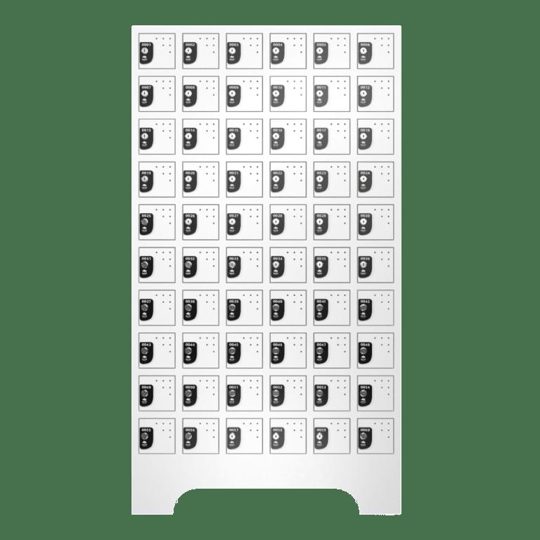 armario para vestiario porta objetos 10 portas por coluna 6 colunas 60 portas frontal fechado 1000x1000 1