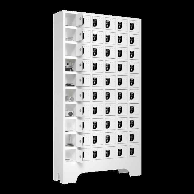 armario para vestiario porta objetos 10 portas por coluna 6 colunas 60 portas lateral aberto 1000x1000 1