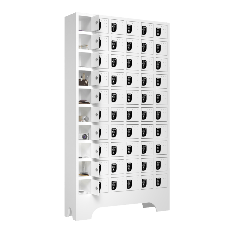 armario para vestiario porta objetos 10 portas por coluna 6 colunas 60 portas lateral aberto 2000x2000 1