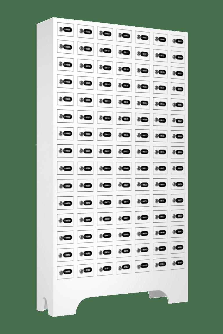 armario para vestiario porta objetos 105 portas 7 colunas 15 portas por coluna lateral fechado 1000x1500 1