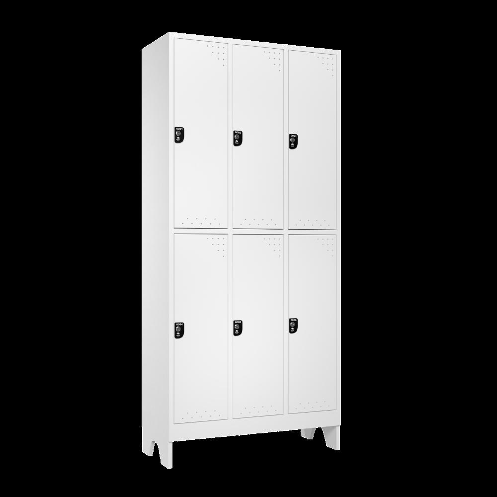 armario para vestiario roupeiro 6 portas 3 coluna 2 portas por coluna lateral fechado 1000x1000 1