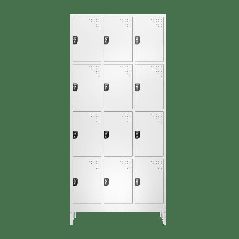 armario para vestiario roupeiro 12 portas 3 colunas 4 portas por coluna 12 usuarios frontal fechado 2000x2000 1