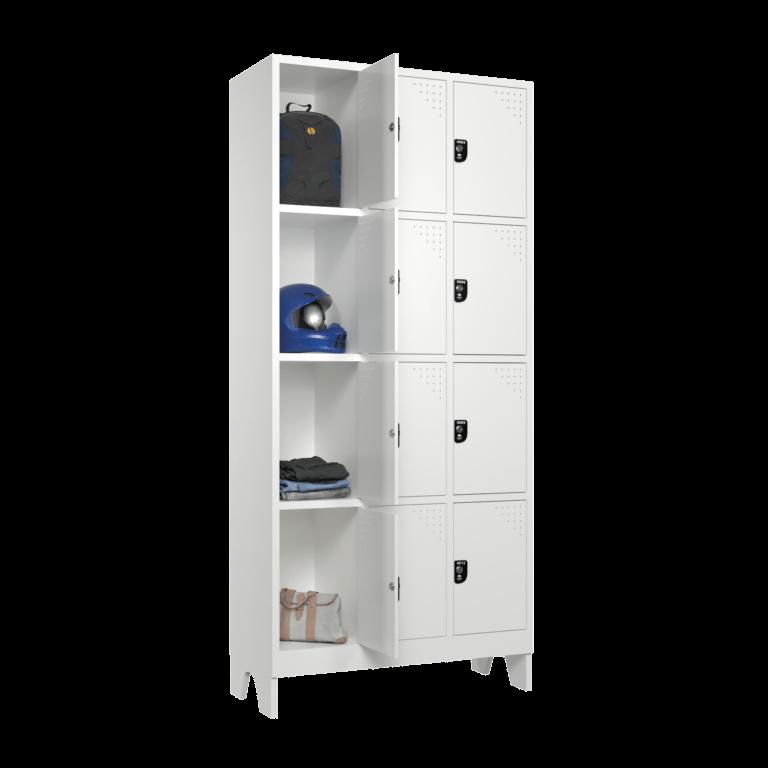 armario para vestiario roupeiro 12 portas 3 colunas 4 portas por coluna sem prateleira lateral aberto 2000x2000 1