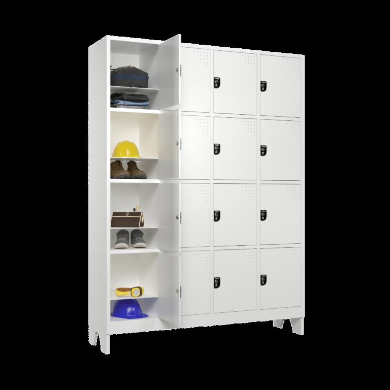 armario para vestiario com 16 portas 4 colunas 4 portas por coluna modelo 16 usuarios 1600 lateral aberto 1000x1000 1