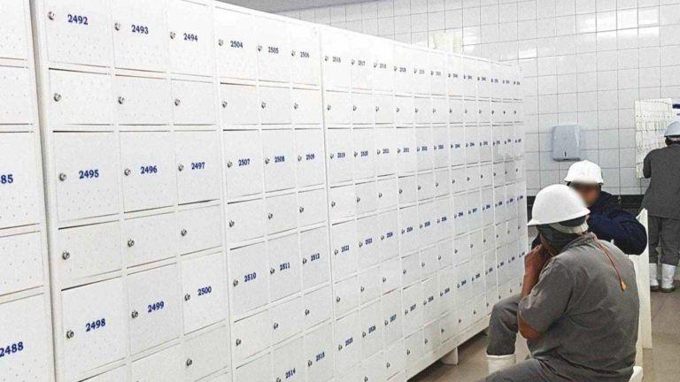 vestiario de frigorifico com armarios macam brasil civil 12 usuarios