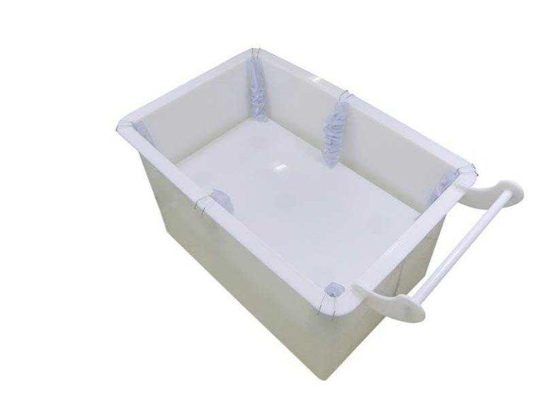 carrinho cuba ergonomico feito em plastico cor branco para lavanderia frigorifico supermercado acougue hospital hotel